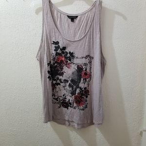 Rock & Republic skull and flowers plus size tank